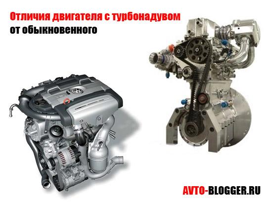 Отличия двигателя с турбонадувом от обыкновенного
