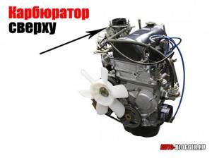Карбюратор сверху двигателя