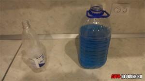 Полученный раствор 2 литра незамерзайки, 1 литр воды