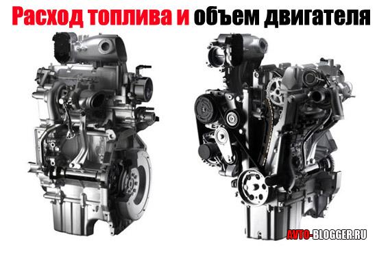 Расход топлива и объем двигателя
