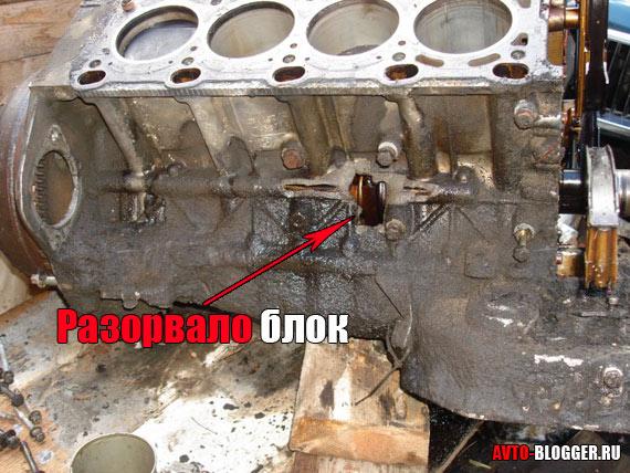 Разорвало блок двигателя