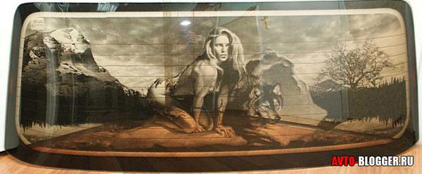пример рисунка на стекле