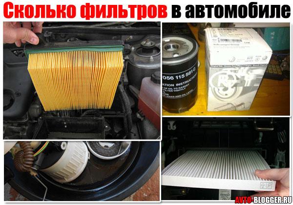 Сколько фильтров в автомобиле